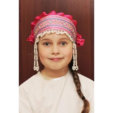Кокошник «Инна» малиновый для русских народных танцев