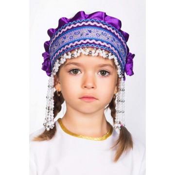 Кокошник «Инна» фиолетовый для русских народных танцев