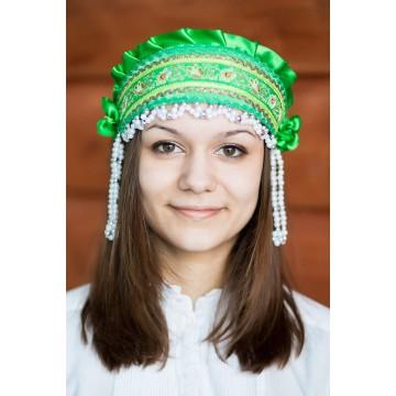 Кокошник «Инна» зеленый для русских народных танцев