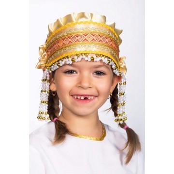 Кокошник «Инна» золотой для русских народных танцев
