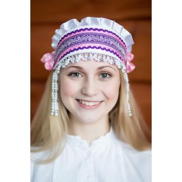 Кокошник «Инна» белый для русских народных танцев