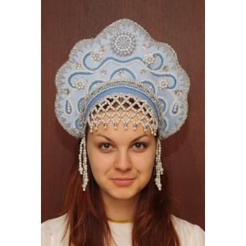 Кокошник «Лариса» голубой для русских народных танцев