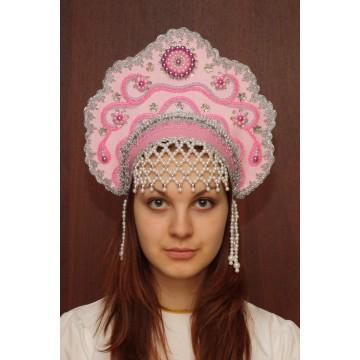 Кокошник «Лариса» розовый для русских народных танцев