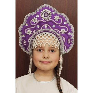 Кокошник «Лариса» фиолетовый для русских народных танцев