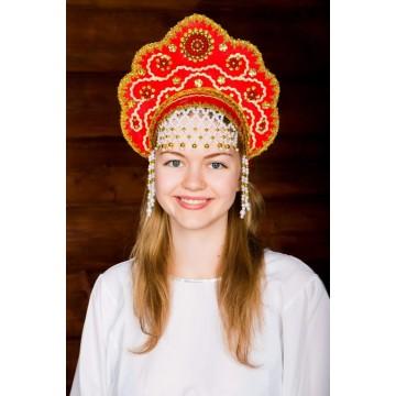 Кокошник «Лариса» красный для русских народных танцев