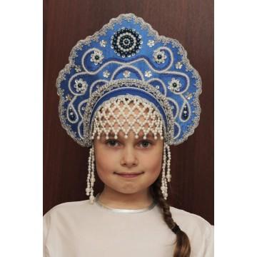 Кокошник «Лариса» синий для русских народных танцев