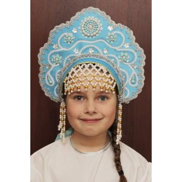 Кокошник «Лариса» бирюзовый для русских народных танцев