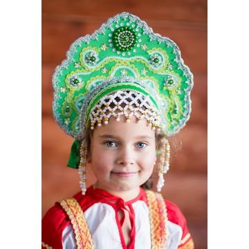 Кокошник «Лариса» зеленый для русских народных танцев