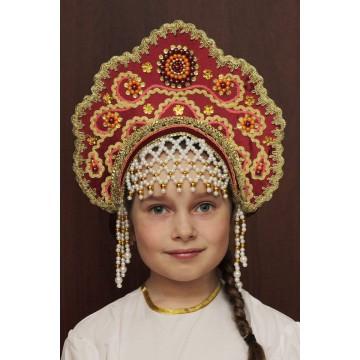 Кокошник «Лариса» бордовый для русских народных танцев