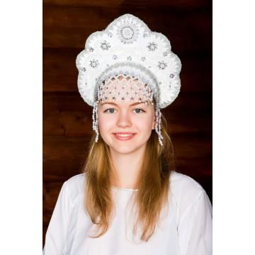 Кокошник «Лариса» белый для русских народных танцев