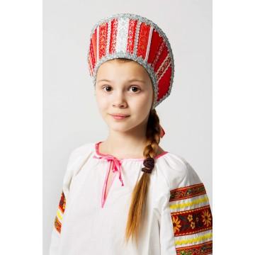 Кокошник «Марья» красный для русских народных танцев