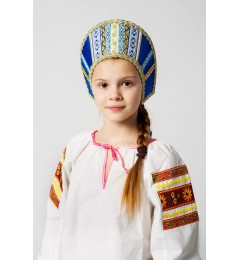 Кокошник «Марья» синий