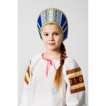 Кокошник «Марья» синий для русских народных танцев