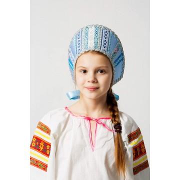Кокошник «Марья» голубой для русских народных танцев