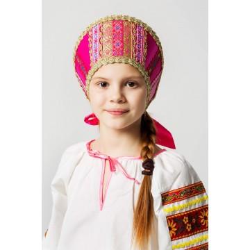 Кокошник «Марья» розовый для русских народных танцев
