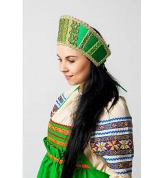 Кокошник «Марья» зеленый