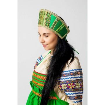 Кокошник «Марья» зеленый для русских народных танцев