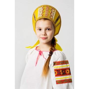 Кокошник «Марья» золото для русских народных танцев