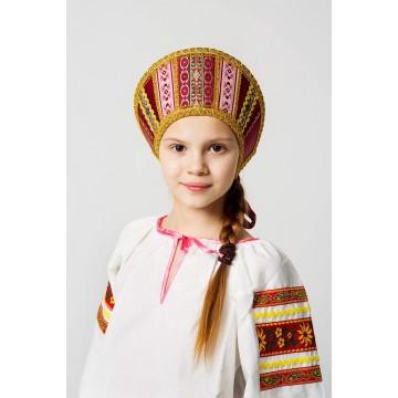 Кокошник «Марья» бордо для русских народных танцев