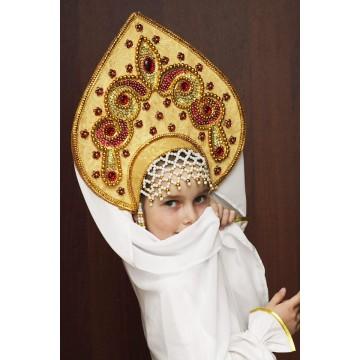 Кокошник «Надежда» золотая парча для русских народных танцев