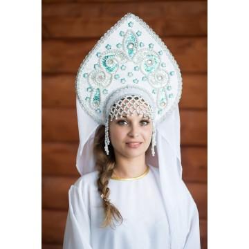 Кокошник «Надежда» серебряная парча для русских народных танцев