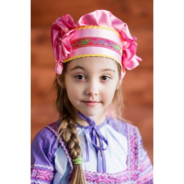 Кокошник «Настенька» розовый для русских народных танцев