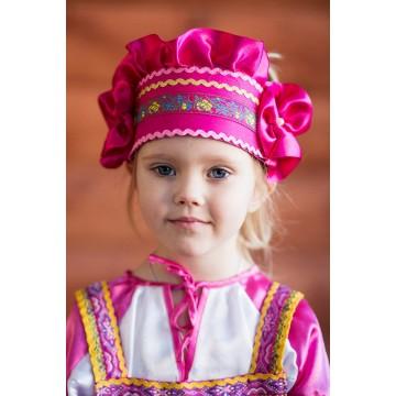 Кокошник «Настенька» малиновый для русских народных танцев