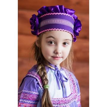 Кокошник «Настенька» фиолетовый для русских народных танцев