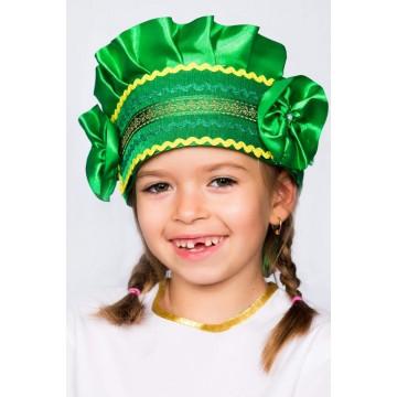 Кокошник «Настенька» зеленый для русских народных танцев