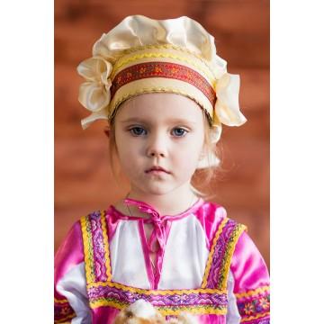 Кокошник «Настенька» золотой для русских народных танцев
