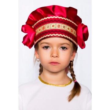 Кокошник «Настенька» бордовый для русских народных танцев