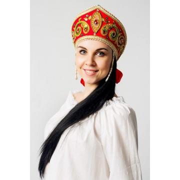 Кокошник «Пелагея» красный для русских народных танцев