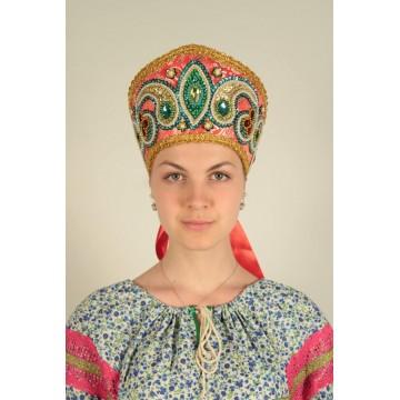 Кокошник «Александра» красный для русских народных танцев