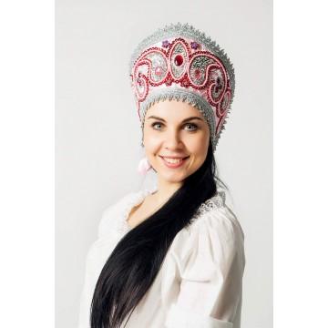 Кокошник «Александра» розовый для русских народных танцев