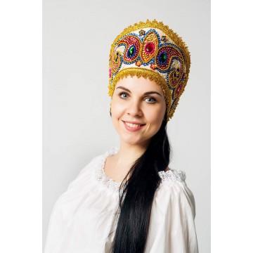 Кокошник «Александра» золото для русских народных танцев