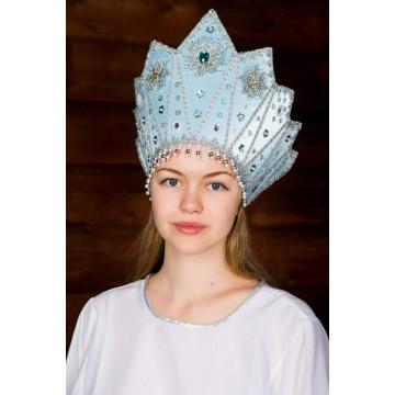 Кокошник «Сказка» голубой для русских народных танцев