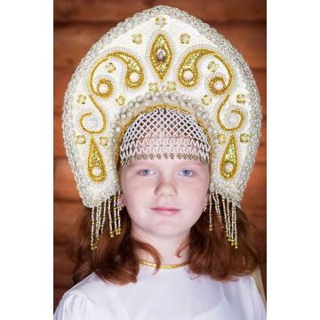Кокошник «Татьяна» золотой для русских народных танцев