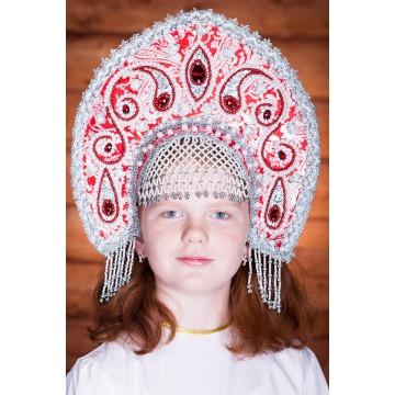 Кокошник «Татьяна» красный для русских народных танцев