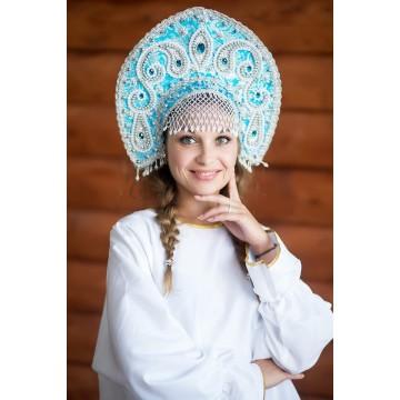 Кокошник «Татьяна» голубой для русских народных танцев
