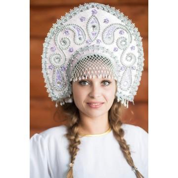 Кокошник «Татьяна» розовый для русских народных танцев