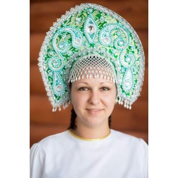 Кокошник «Татьяна» зеленый для русских народных танцев