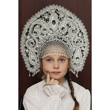 Кокошник «Татьяна» черный для русских народных танцев