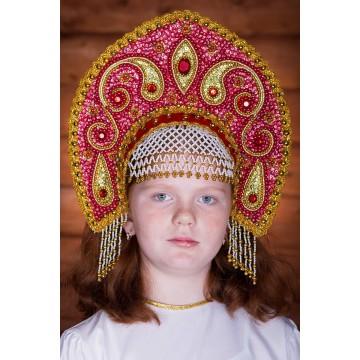 Кокошник «Ульяна» красный для русских народных танцев