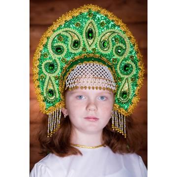 Кокошник «Ульяна» зеленый для русских народных танцев