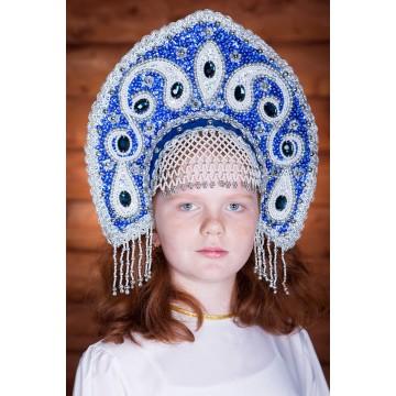 Кокошник «Ульяна» синий для русских народных танцев