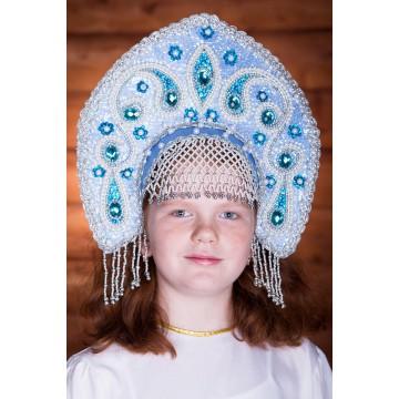 Кокошник «Ульяна» голубой для русских народных танцев