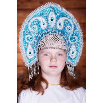 Кокошник «Ульяна» бирюзовый для русских народных танцев