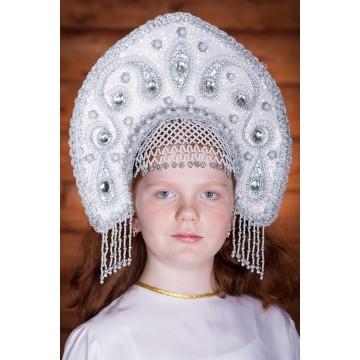 Кокошник «Ульяна» белый для русских народных танцев