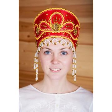 Кокошник «Виктория» красный для русских народных танцев