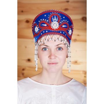 Кокошник «Виктория» синий для русских народных танцев
